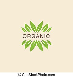 Text With Leaf Crowning Organic Product Logo Cool Flat...