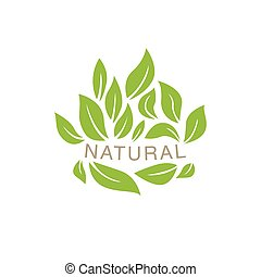 Random Placed Leaves Surrounding Text Organic Product Logo...