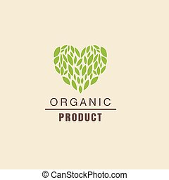 Leaf Heart Above Text Organic Product Logo Cool Flat Vector...