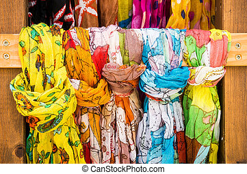 scarfs in a market
