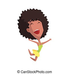 African Curly Female Character Rejoicing Primitive Geometric...