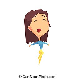 Brown Hair Female Character Rejoicing Primitive Geometric...