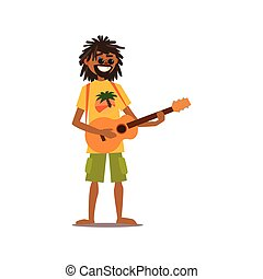 Rastafarian Vector Illustration - Rastafarian Playing Guitar...
