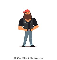 Biker Vector Illustration - Biker Isolated Primitive Design...
