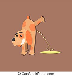 Dog Peeing Image - Dog Peeing Funny Flat Vector Illustration...