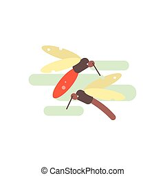 Two Mosquitos Illustration - Two Mosquitos Primitive Style...