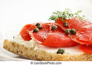Ciabatta with Salmon, Cream Cheese and Capers. Extreme...
