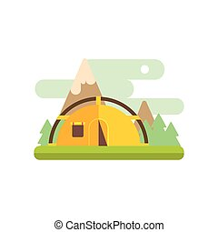 Mountsin Camping Illustration - Mountsin Camping Primitive...