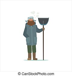 Janitor Outside In Winter Primitive Vector Flat Isolated...