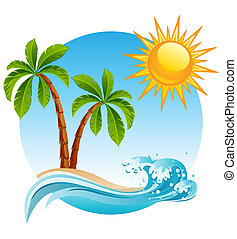 Tropical island - Two palm-tree on the tropical island