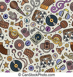 Cartoon hand-drawn musical instruments seamless pattern Lots...