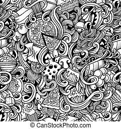 cibo, modello, seamless, mano, doodles, disegnato, cartone...