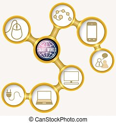 Golden frames for your text and smart world symbol