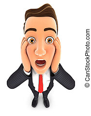 3d businessman with shocked facial expression, isolated...