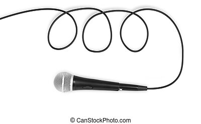 dynamic microphone on white background, microphone with line...