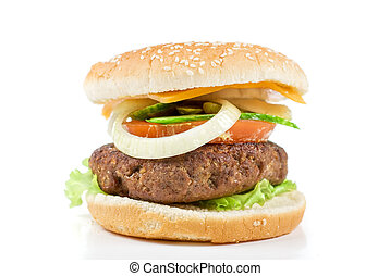 burger - Delicious grilled burger on wheat buns isolated on...