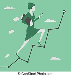 Business concept vector illustration Woman reaching goal and...