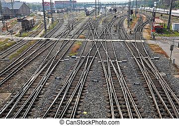 ferrocarril, pistas, con, interruptores,