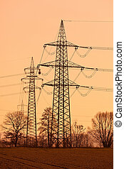 pylons of a power line - poles of a high voltage power line...