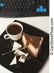 Dessert-slace of cake - Top view slice of cake on plate, cup...
