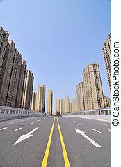 The empty city highway
