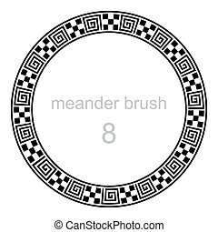 frame round ornament meander pattern