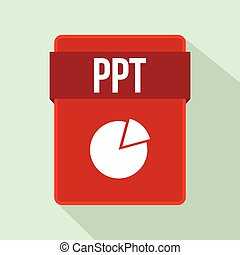 PPT file icon, flat style - PPT file icon in flat style on a...