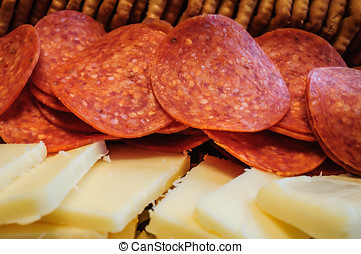 Pepperoni Crackers and Cheese Tray Close up