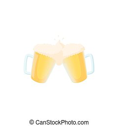 Two mugs of beer icon, cartoon style