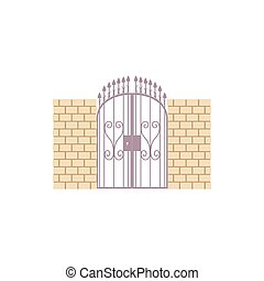 Gate with brick wall and a metal lattice icon