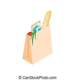Paper bag with food icon, isometric 3d style