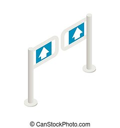 Entrance gate icon, isometric 3d style - Entrance gate in...