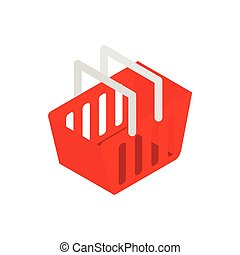 Red shopping basket icon, isometric 3d style