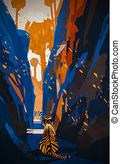 tiger stalking in narrow rock wall,illustration digital...