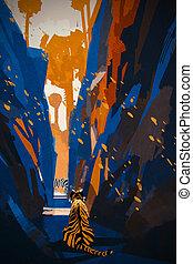 tiger stalking in narrow rock wall,illustration digital...