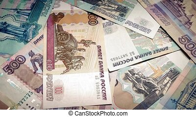 Stack Of Russian Rubles Rotating