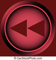 Icon red scrolling symbol back - Button icons with a rewind...