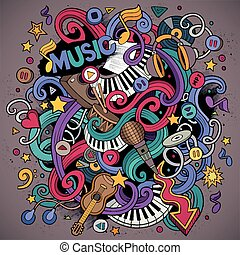 Cartoon hand-drawn doodles Musical illustration Colorful...
