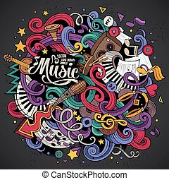Cartoon hand-drawn doodles Musical illustration. Colorful...