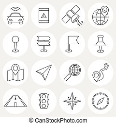 Navigation line icons Locations and orientation icons...