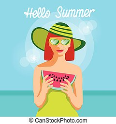 Woman Hold Water Melon Slice Over Sea Background Hello...