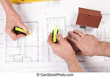 Blåkopior, redskapen, arkitektur