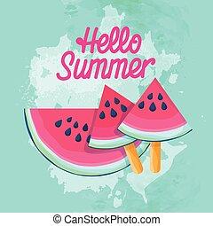 Watermelon Slice Ice Cream Juicy Water Melon Flat Ve