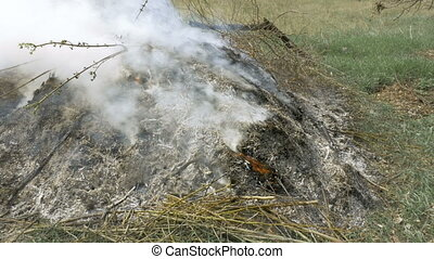 Burning grass foliage heap with heavy dense smoke