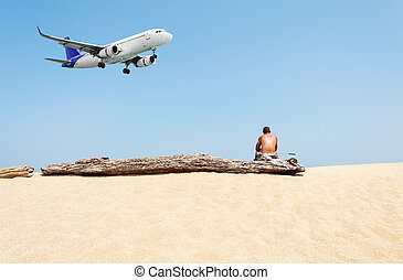 Summer and travel concept, Some people and airplane come...