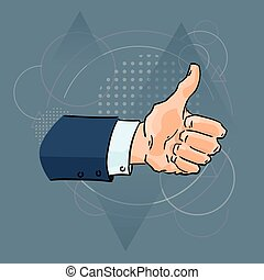 Thumb Up Gesture Business Man Hand Over Triangle Geometric...