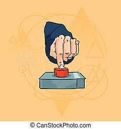 Business Man Hand Finger Press Red Button Over Triangle Geometric Background
