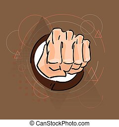 Business Man Hand In Fist Over Triangle Geometric Background
