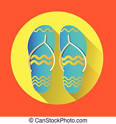 Flip Flops Icon Summer Slippers Foot Wear Flat