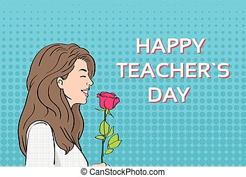 Woman Hold Rose Flower Teacher Day Holiday Greeting Card  Pop Art Colorful Retro Style